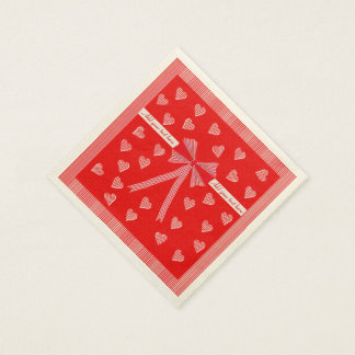 Red striped border and a red centre with hearts disposable serviette