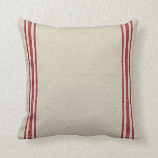 Red Striped Grain Sack Inspired Cushion