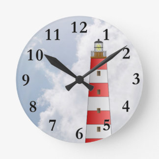 Red Striped Lighthouse in the Clouds Beach Theme Round Clock