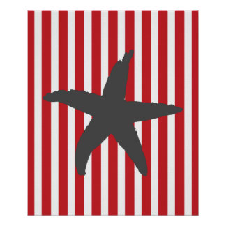 Red Striped Nautical Sea Star Poster