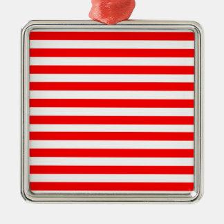 Red Striped Silver-Colored Square Decoration