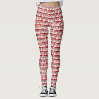 Red Striped Swan Hearts Leggings