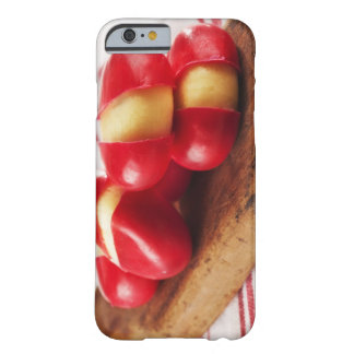 Red striped tea towel in background. barely there iPhone 6 case