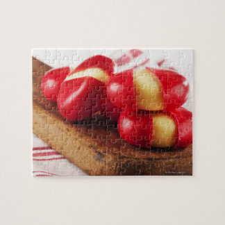 Red striped tea towel in background. jigsaw puzzle