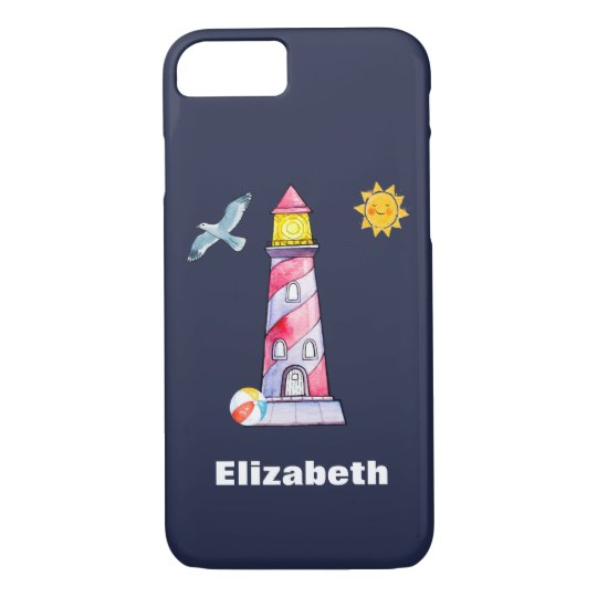 Red Striped Watercolor Lighthouse Custom iPhone 8/7 Case