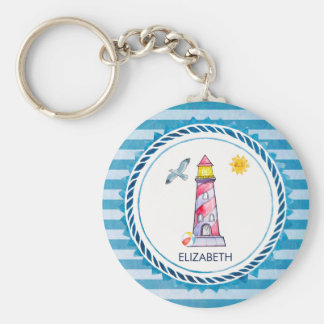 Red Striped Watercolor Lighthouse Key Ring