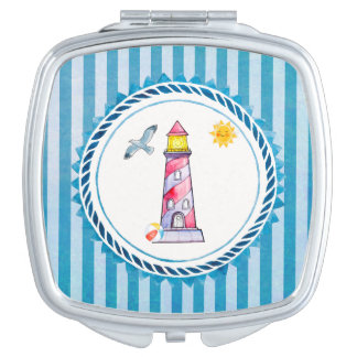Red Striped Watercolor Lighthouse Makeup Mirrors