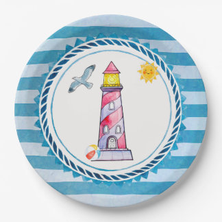 Red Striped Watercolor Lighthouse Paper Plate