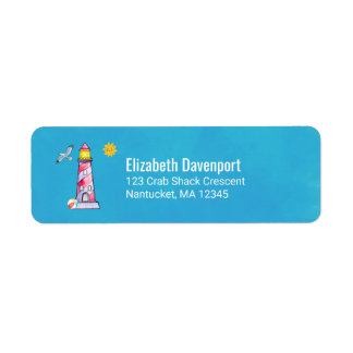 Red Striped Watercolor Lighthouse Return Address Label