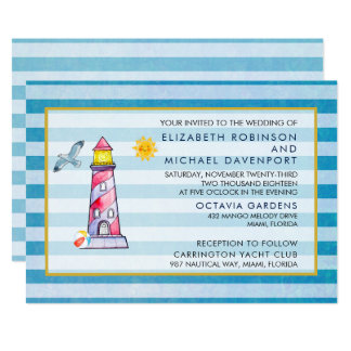 Red Striped Watercolor Lighthouse Wedding Card