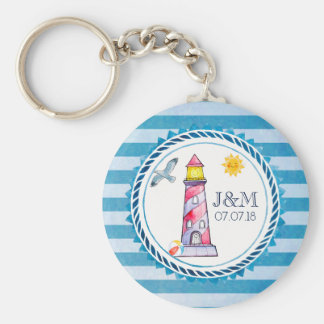 Red Striped Watercolor Lighthouse Wedding Key Ring