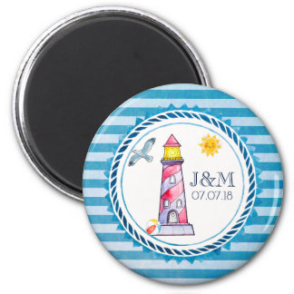 Red Striped Watercolor Lighthouse Wedding Magnet
