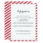 Red Striped Wedding Information Insert Card