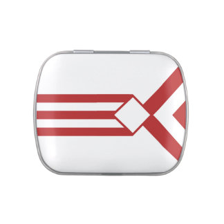Red Stripes and Chevrons on White Candy Tin