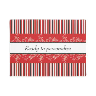 Red Stripes and Curls Doormat