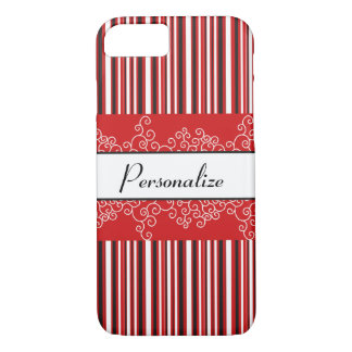 Red Stripes and Curls iPhone 8/7 Case