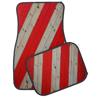 Red Stripes and Wood Design Set of 4 Car Mats