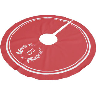 Red Stripes and Wreath Monogram Tree Skirt Brushed Polyester Tree Skirt