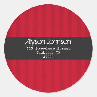 Red Stripes Background Address Labels Round Sticker