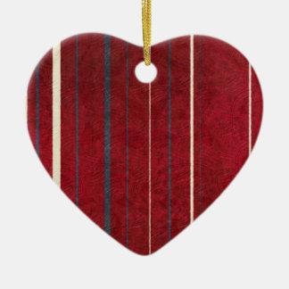 Red Stripes Ceramic Heart Decoration