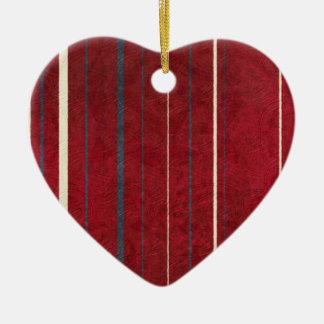 Red Stripes Double-Sided Heart Ceramic Christmas Ornament