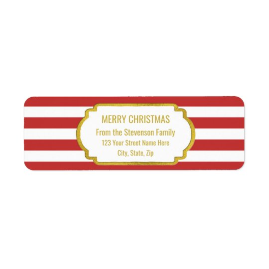 Red Stripes Gold Merry Christmas