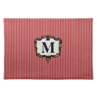 Red Stripes, Gold Monogram Placemats