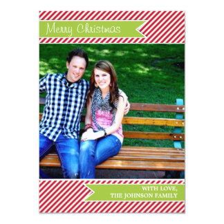 Red Stripes Green Ribbon Photo Christmas Cards