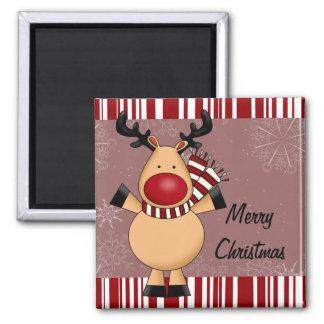 Red Stripes Reindeer Magnet