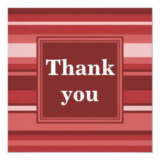 Red stripes thank you 13 cm x 13 cm square invitation card
