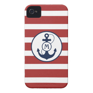 Red Stripes with Nautical Anchor and Monogram Case-Mate iPhone 4 Case