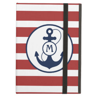Red Stripes with Nautical Anchor and Monogram iPad Air Cover