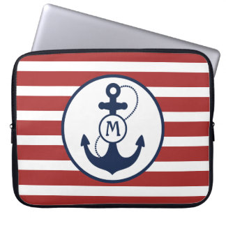 Red Stripes with Nautical Anchor and Monogram Laptop Sleeve