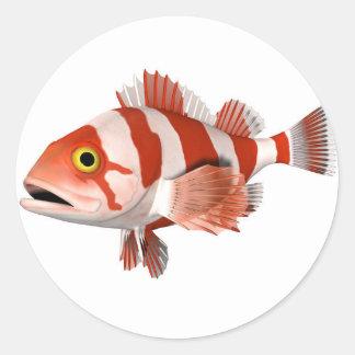 Red Stripey Fish Round Sticker