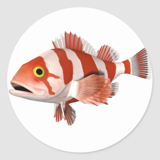 Red Stripey Fish Stickers