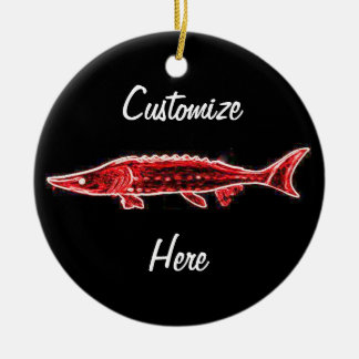 red sturgeon customized Thunder_Cove Round Ceramic Decoration