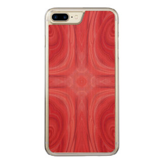 Red stylish wood pattern carved iPhone 8 plus/7 plus case