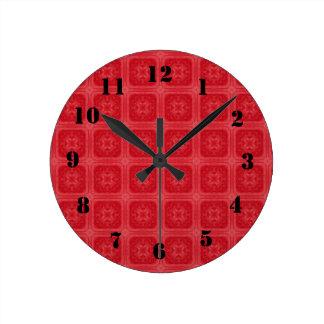 Red stylish wood pattern wallclock