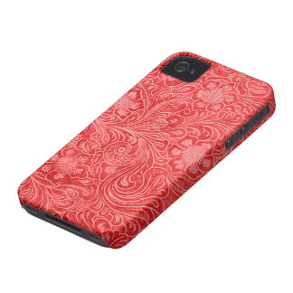 Red Suede Leather Look Embossed Flowers iPhone 4 Cases