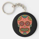 Red Sugar Skull Basic Round Button Key Ring