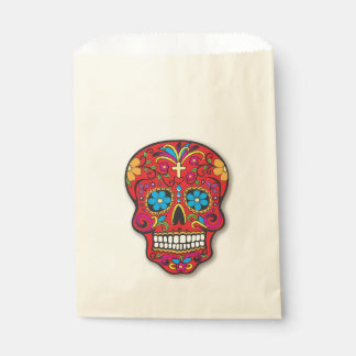 Red Sugar Skull Halloween Treat Party Orange Favour Bags