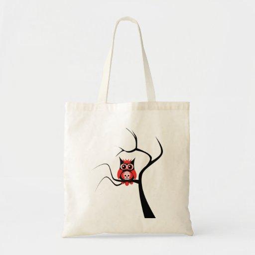 Red Sugar Skull Owl in Tree Bag