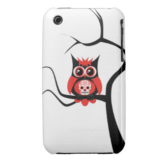 Red Sugar Skull Owl in Tree Case iPhone 3 Cover