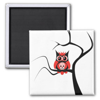 Red Sugar Skull Owl in Tree Magnet