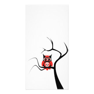 Red Sugar Skull Owl in Tree Photo Card
