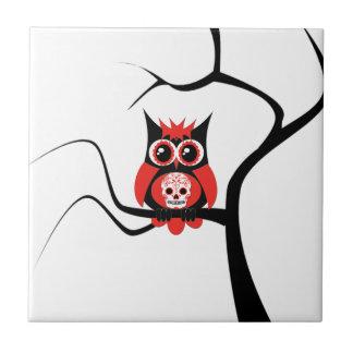 Red Sugar Skull Owl in Tree Tile