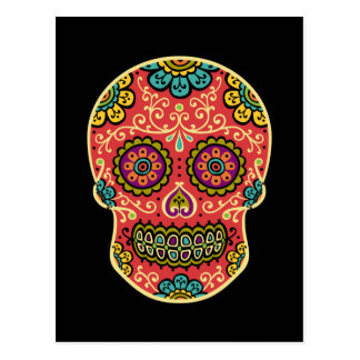 Red Sugar Skull Poscard Postcard
