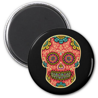 Red Sugar Skull Round Magnet