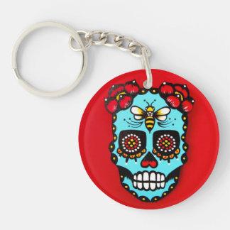 Red Sugar Skull Single-Sided Round Acrylic Key Ring