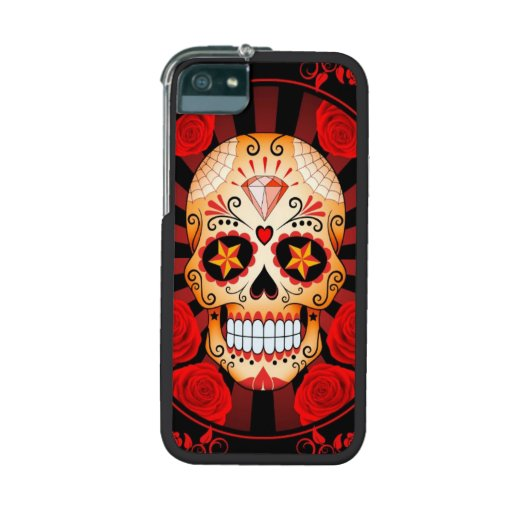 Red Sugar Skull with Roses Poster iPhone 5 Case